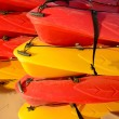Stock Photo: Piled canoes