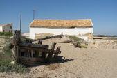 Old salt mine boat — Stock Photo