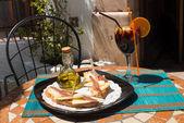 Tapa on sunny terrace — Stock Photo