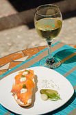 Tapa with white wine — Stock Photo