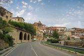 Road accessing the Medieval village of Mosqueruela, Teruel, Spain — Stock Photo