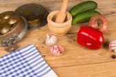 Vintage kitchen table still life — Stock Photo