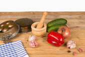 Old kitchen table — Stock Photo