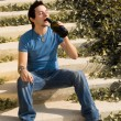 Drinking outdoors — Stock Photo