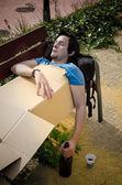 Drunk on park bench — Stock Photo