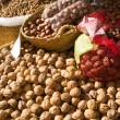Nuts on a market stall — Stock Photo