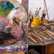 Palette in an atelier — Stock Photo
