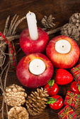 Christmas decoration with red apples — Stock Photo