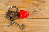 Lock and key to a heart — Foto Stock