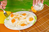 Salting eggs — Stock Photo