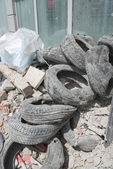 Rubble and Old Tires — Stock Photo