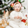 Sitting under Christmas tree — Foto Stock