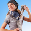 Happy girl wearing hat and scarf — Stok fotoğraf