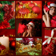 Red collage of Christmas related theme — Stock Photo #12760543