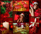 Red collage of Christmas related theme — 图库照片