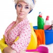 Pinup styled housewife with cleaning set — Photo