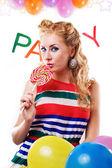 Fotográfica con chupa-chups, globos y fiesta de la palabra — Foto de Stock
