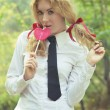 Schoolgirl in tie with lollipop - Foto de Stock