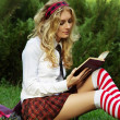 Student girl reading books - Foto de Stock
