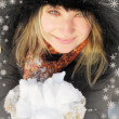 Woman in winter hat and gloves with snowflakes — Stok fotoğraf
