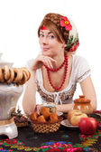 Hospitable russian woman — Stock Photo