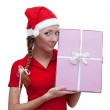 Joyful Santa helper with present box — Stock Photo #1894136