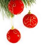 Red balls on Christmas tree — Stock Photo #1919533