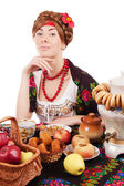 Russian woman with traditional food — Stock Photo