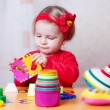 Baby girl playing sorter — Stock Photo