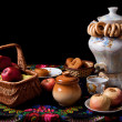 Samovar, bagels and apples on table — Foto Stock