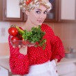 Pinup woman in red with fresh vegetables — Foto Stock