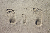 Three family footprints in sand — ストック写真