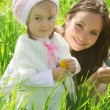 Smiling mother and daughter outdoor — Stock Photo