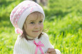 Smiling cute baby girl with hat — Stock Photo