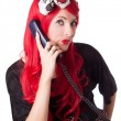 Chocked retro woman with red hair on the phone — Foto Stock