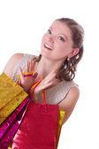 Verbaasd vrouw met shopping tassen — Stockfoto