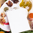 Blank notebook sheet with spices and herbs — Foto Stock