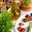 Stock Photo: Mix of fresh herbs, spices and oil