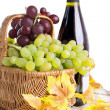 Bottle of wine with grapes in basket — Stock Photo