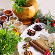 Mix of fresh herbs, spices and oil — Foto Stock