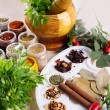 Mix of fresh herbs, spices and oil — Stock Photo