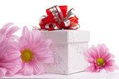 Cadeau-boîte avec bow rouge avec marguerites roses — Photo