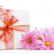 Gift box with red ribbon and pink dasies — Stock Photo