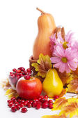 Autumn fruits and vegetables in basket — Stock Photo