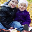 Stock Photo: Sister and brother together on autumn leaves