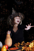 Witch child on halloween — Stock Photo