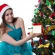 Teenage girl in Santa hat offering present under Christmas tree — Stock Photo