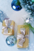 Decor with blue balls and silver gifts — Stock Photo