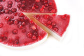 Cheesecake with red currants on a plate — Stock Photo