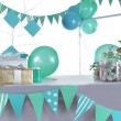 Blue and green colored birthday party table — Stock Photo #41924797